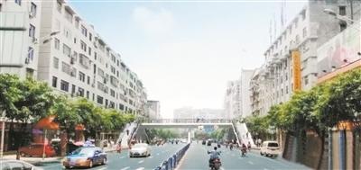 人行天桥效果图.-资阳城区海峡人行天桥开建 预计8月份完工并投用